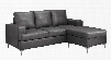 "I 8600GY 78"" Sofa Lounger with Bonded leather Upholstery Track Arms and Metal Legs in Charcoal"