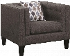 "Sawyer Collection 506193 37"" Chair with Reversible Seat Cushion Pocket Coil Seating Cappuccino Tapered Legs and Nubby Houndstooth Upholstery in Dusty Blue"