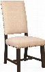 "Suthers Collection 102820 19"" Side Chair with Nail Head Trim Tapered Legs Smoky Black Asian Hardwood Construction and Chenille Fabric Upholstery in Beige"