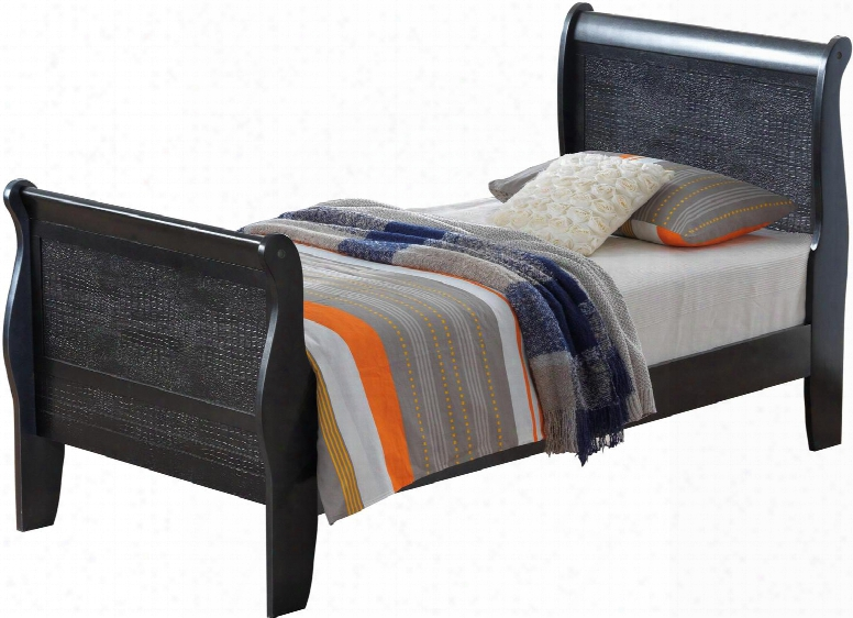 Randa Collection G6550a-tb Twin Size Bed With Crocodile Texture And Wood Veneers In