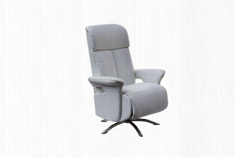 Rl1453wht Nora Recliner Armchair White Leather 02c-05-17-2 Manual Relax Function With Adjustable Headreast. Metal Brushed