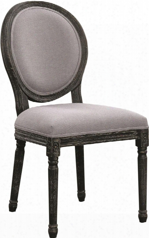 "Rochelle Collection 103066 19"" Side Chair With Bohemian Style French Oval Back Fluted Legs Grey Linen Fabric Upholstery And Asian Hardwood Construction In"