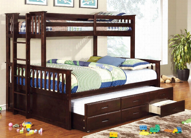 University Cm-bk458q-exp-bed-tr Twin/queen Bunk Bed With Trundle In Dark