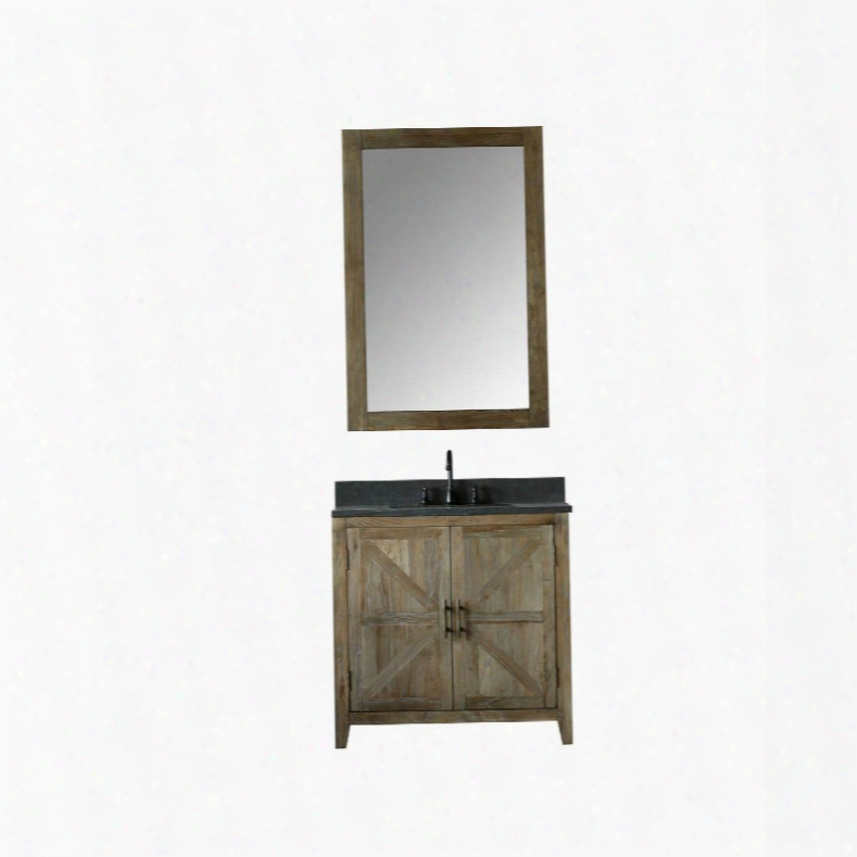 """Wn7536+wn7531-m 36"""" Solid Elm Sink Vanity With Mirror Natural Moon Stone Top Two Doors One Drawer And Oil Rubbed Bronze Faucet In Brushed"""