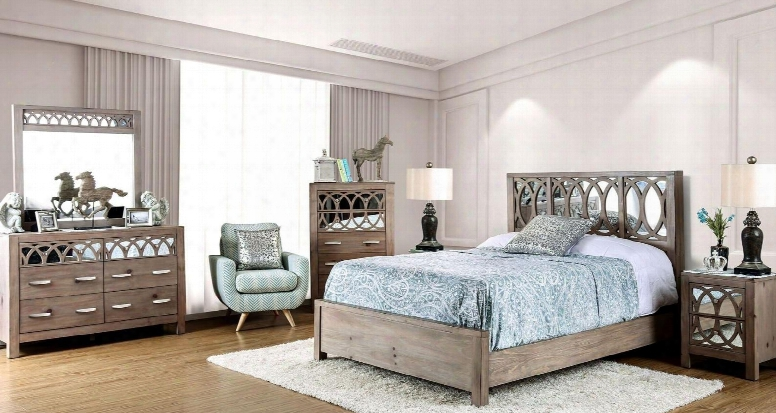 Zaragoza Collection Cm7585ckbedset 6 Pc Bedroom Set With California King Size Panelb Ed + Dresser + Mirror + Chest + 2 Nightstands In Rustic Natural Tone