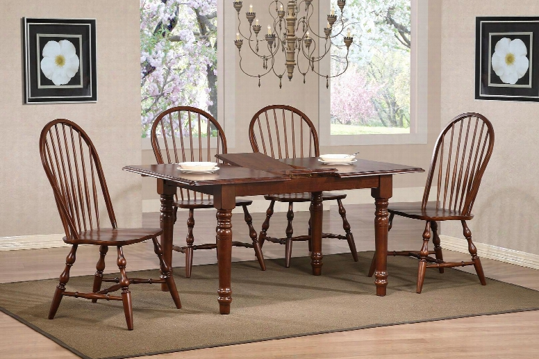 Andrews Collection Dlu-tlb3660-c30-ct5pc 5 Piece Butterfly Dining Set With Rectangular Table + 4 Windsor Spindleback