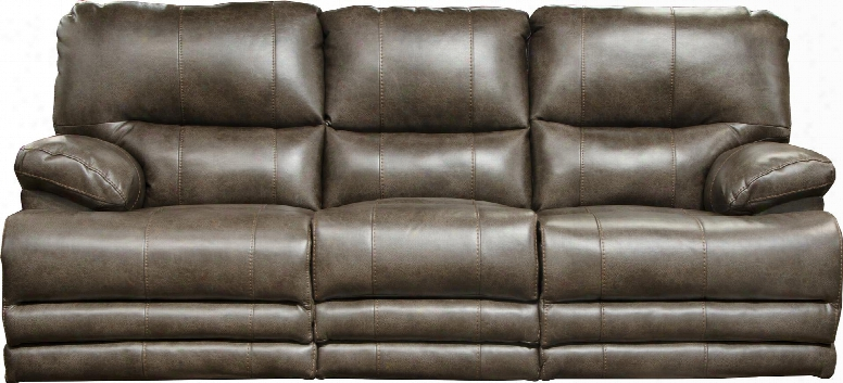 """Austin Collection 64205 1166-39/1266-39 88"""" Power Lay Flat Reclining Sofa With Center Seat Storage Extended Ottoman And Faux Leather Upholstery In"""