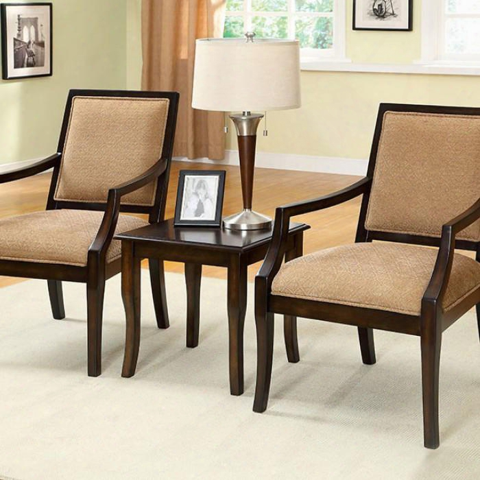 Boudry Cm-ac6990-3pk 3 Pc. Accent Table And Chair Set With Padded Fabric Seat Solid Wood And Others Espresso Finish In