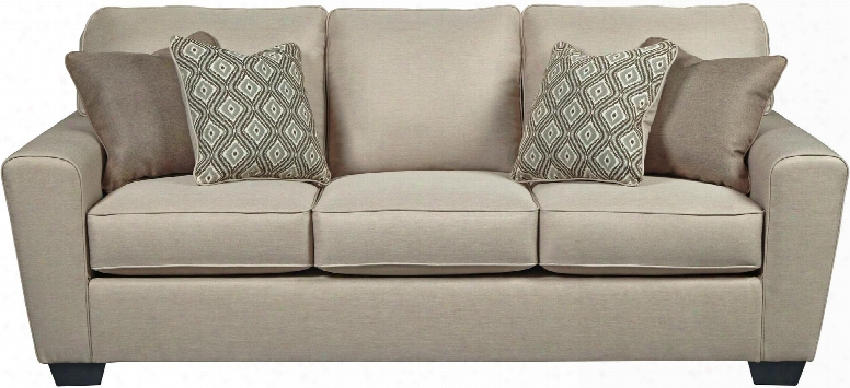 """Calicho Collection 9120338 87"""" Sofa With Ikat Pattern Pillows In Ecru"""