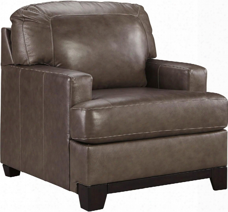 """Derwood Collection 8800320 34"""" Chair With Track Arms Stitching Details And Exposed Base Rail In Two-tone Pewter"""