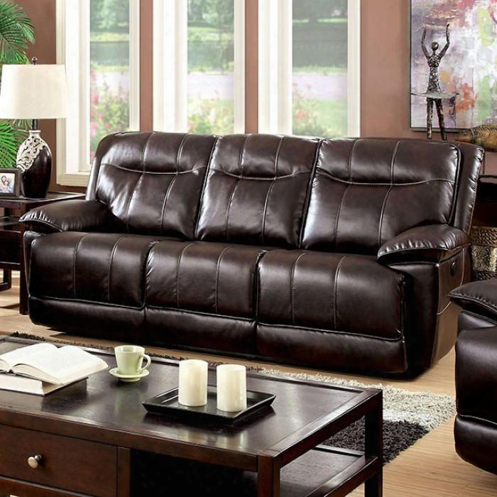 "Dolton Collection Cm6128br-sf-pm 91"" Power-assist Sofa With 2 Recliners Tufted Headrest Breathable Bonded Leather And Pillow Top Arms In"