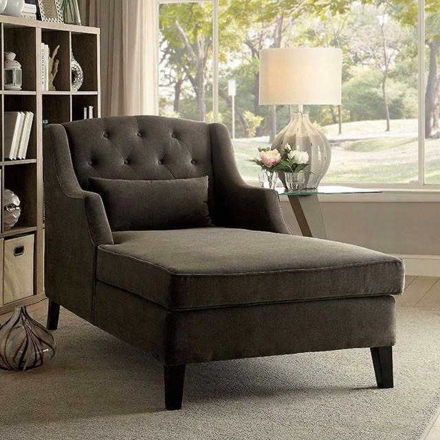"""Eryn Collection Cm-bn6147 65"""" Chaise With Wingback Design Padded Corduroy And Button Tufted In"""