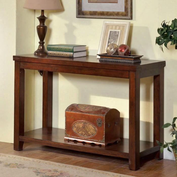 """Estell Collection Cm4107s 48"""" Sofa Table With Open Shelf And Natural Woo Dgrain Design In Dark"""