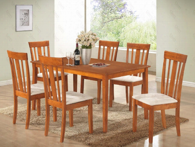 G003t50c 7 Pc Dining Room Set With Dining Table + 6 Side Chairs In Maple