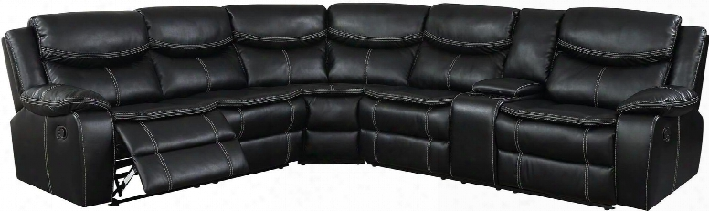 """Gatria Ii Collection Cm6982-sectional 123"""" Reclining Sectional With Breathable Leatherette Double Stitching Plush Cushions And Storage Console With Cup"""