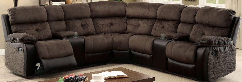 "Hadley Ii Collection Cm6871-sectional 112"" 3-piece Reclining Sectional With Left Arm Facing Console Loveseat Corner Wedge And Right Arm Facing Console"