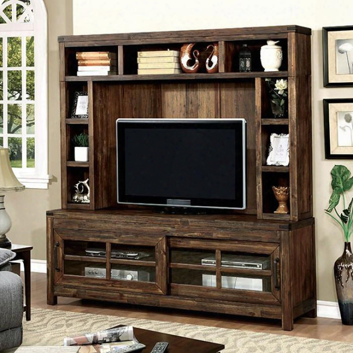 Hopkins Cm5233-tv 72&quoot; Tv Console With Country Style 5mm Clear Glass Panels Sliding Cabinet Doors Oak Finish In