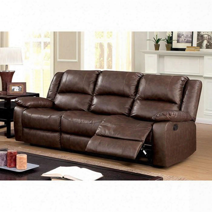 """Kris Collection Cm6293-sf 80"""" Sofa With 2 Recliners Split Back Pillow Top Arms And Top Grain Leather Match In"""