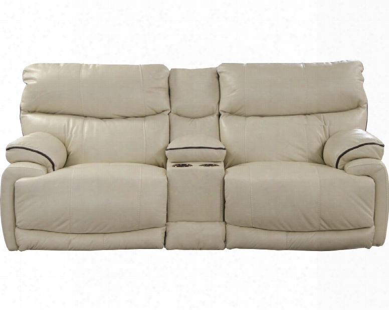 """Larkin Collection 613999 1161-16/1261-16 86"""" Power Lay Flat Reclining Console Loveseat With Storage Two Cuhpolders And Usb Port In Buff And Coffee"""
