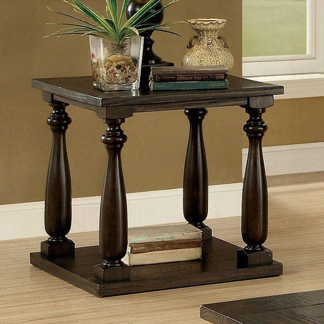 """Luanj Collection Cm44420e 24"""" End Table With Intricate Wood Grain Open Shelf And Turned Legs In Dark"""