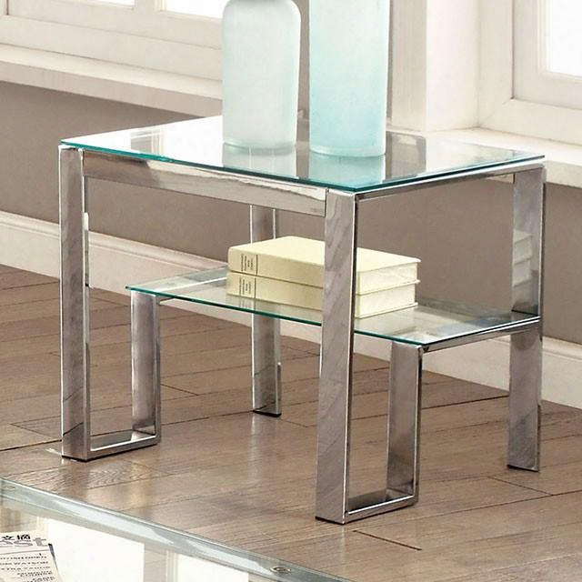 "Nikita Collection Cm4163crm-e-pk 22"" End Table With Step Inspired Base Metal Frame 8mm Tempered Glass Top And 6mm Tempered Glass Shelf In"
