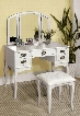 Ashland CM-DK6405WH Vanity Table with Queen Ann Style Legs Padded Stool Included3-Sided Mirror and Drawers in
