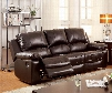 "Davenport Collection CM6327-SF 84"" Reclining Sofa with 2 Recliners Plush Cushions Pillow Top Arms and Top Grain Leather Match in Rustic Dark"