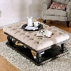 """Keira Collection CM4455F-C-TABLE 54"""" Coffee Table with Button Tufted Beige Fabric Top Open Shelf Rustic Wood Grains and Turned Legs in Weathered"""
