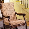 Liverpool CM-AC6408 Rocking Chair with Classic Style Rocker Solid Wood and Others Padded Fabric Seat Antique Oak Finish in Antique