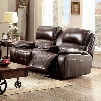 "Ruth Collection CM6783BR-LV 77"" Reclining Love Seat with Storage Console 2 Recliners Pillow Top Arms and Top Grain Leather Match in"
