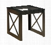 """Sonya Collection CM4305E 26"""" End Table with 5mm Tempered Glass Top X-Shape Table Base and Cross Side Design in"""