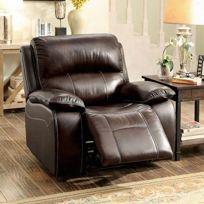 "Ruth Collection Cm6783br-ch 42"" Rocker Recliner With Plush Cushions Pillow Top Arms And Top Grain Leather Match In"