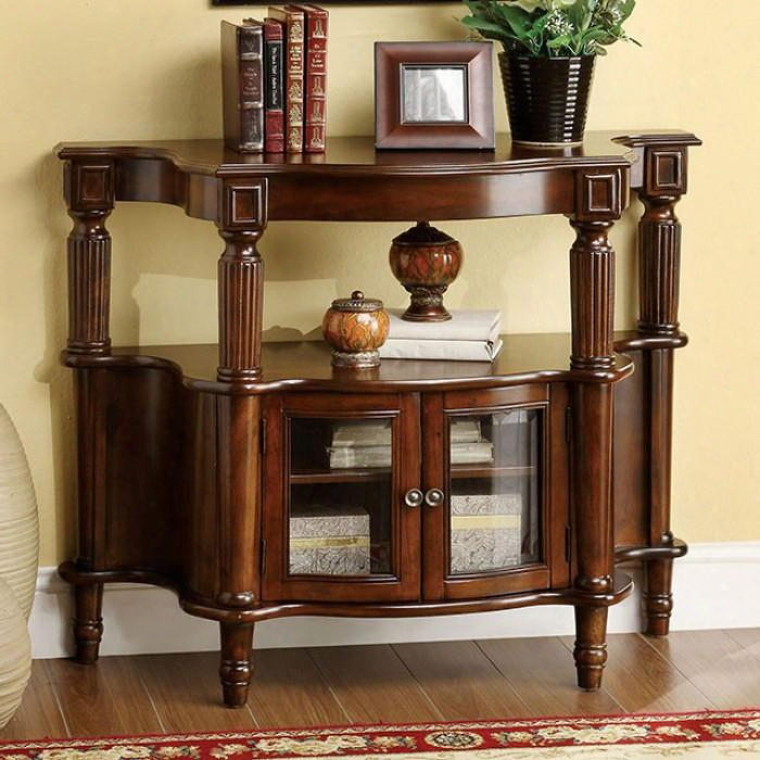 Southampton Cm-ac201 Side Table With Classic Style Framed Glass Doors Turned Legs And Open Shelf Solid Wood And Others In Antique