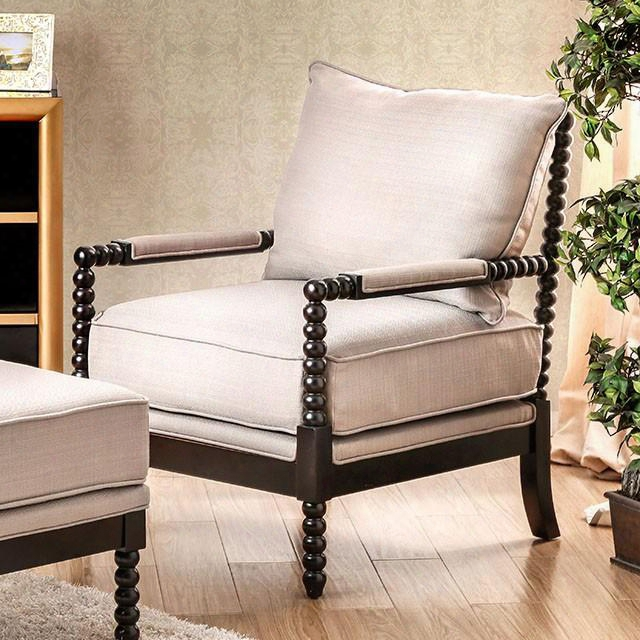 Sybil Cm-ac6140bg Accent Chair With Contemporary Style Padded Armrests Plush Cushions Ottoman Included In