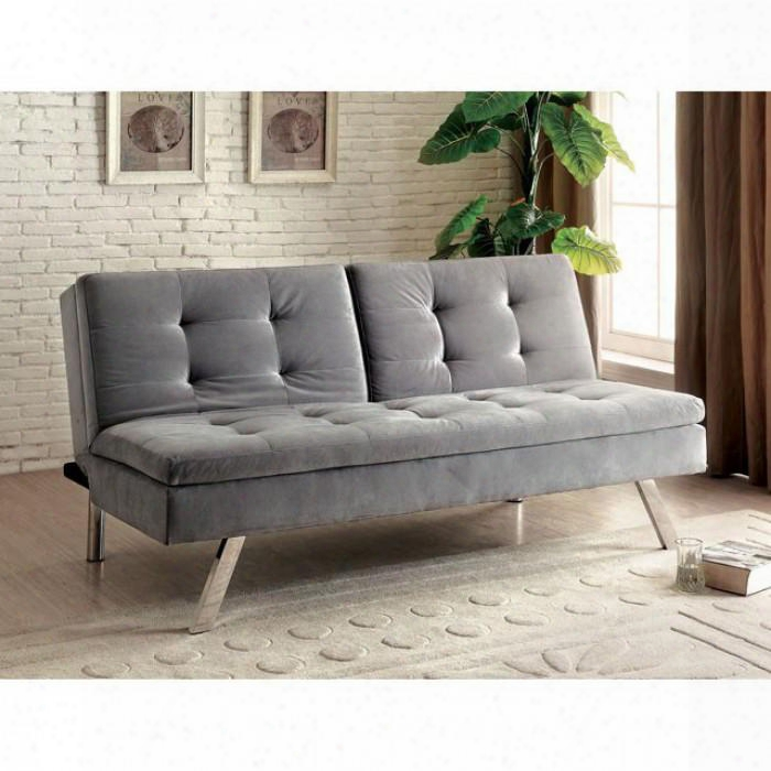 """Valier Collection Cm2701 70"""" Futon Sofa With Split Back Flannelette Fabric And Tufted Detailing In Light"""
