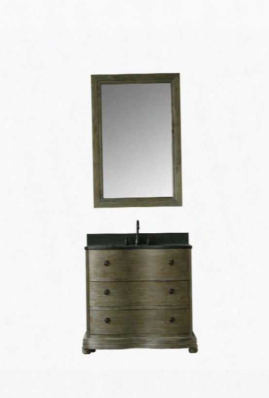 """Wn7136 38"""" Solid Elm Sink Vanity With Mirror Natural Moon Stone Top Two Drawers And Oil Rubbed Bronze Faucet In Brushed"""