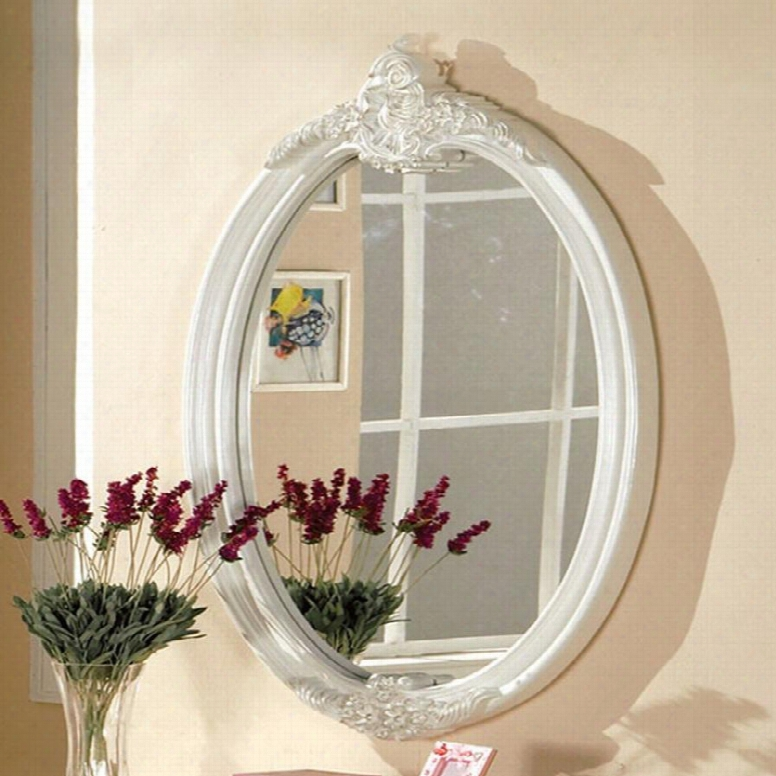 "Alexandra Collection Cm7226m 44"" X 28"" Oval Mirror With Fairy Tale Style Motif Design Solid Wood Construction In Pearrl White"