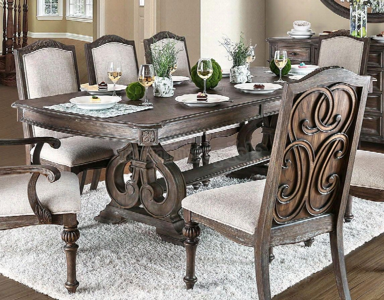 """Arcadia Collection Cm3150t-table 78&qut;-96"""" Extendable Dining Table With Transitional Style 18"""" Expandable Leaf Intricate Wood Inlay Details And Double Pedestals"""