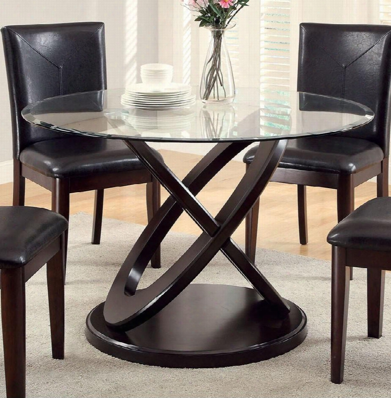 """Atenna I Collection Cm3774t-table 48"""" Round Dining Table With 8mm Tempered Glass Top And Inter1inking Circle Base In Dark"""