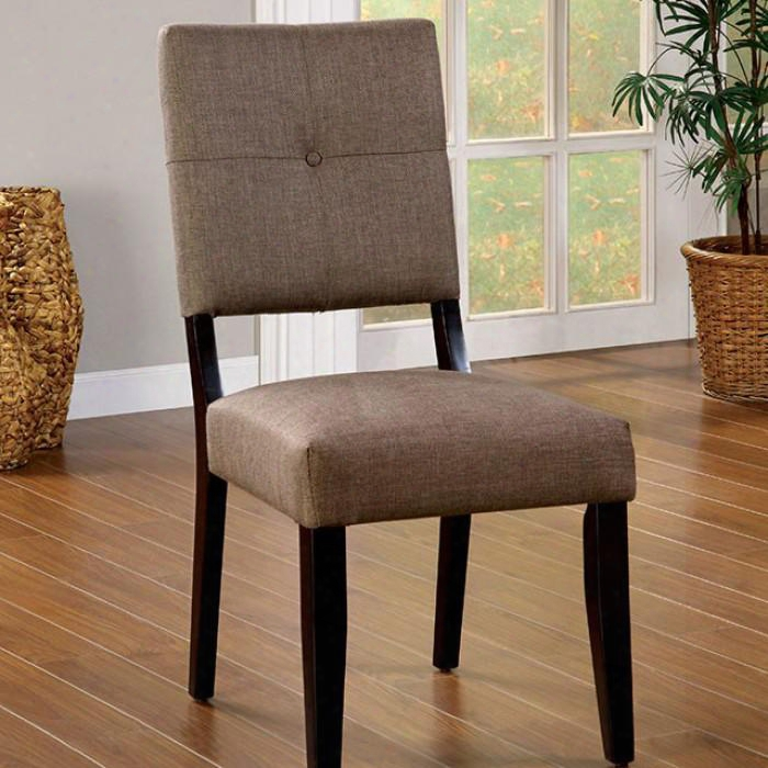 Bay Side I Collection Cm3311sc-2pk Set Of 2 Chair With Padded Fabric In Espresso
