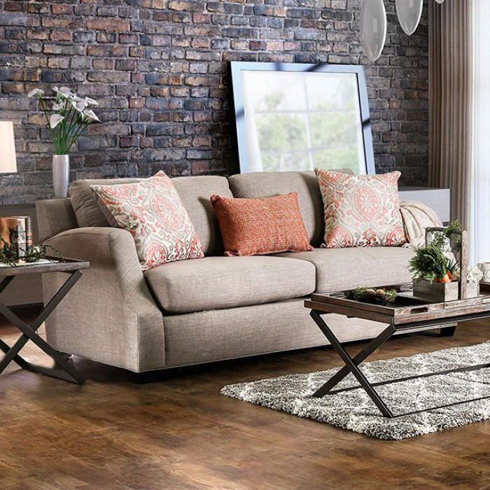 "Beltran Collection Sm3058-sf 88"" Sofa With Chenille Fabric Upholstery Sloped Style Arms And 3 Pillows In Light"