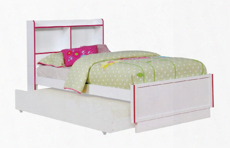 Bobbi Collection Cm7852pk-t-bed Twin Size Bed With Open Shelf Colorful Trim Solid Wood And Wood Veneers Construction In Pink And White