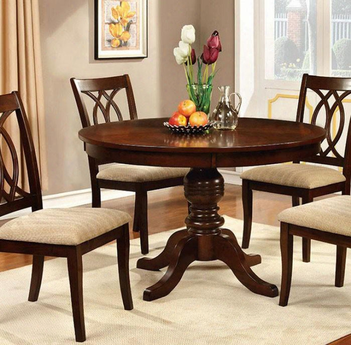 """Carlisle Collection Cm3778rt-table 48"""" Roud Dining Table With Transitional Style Pedestal Base And Apron In Brown Cherry"""