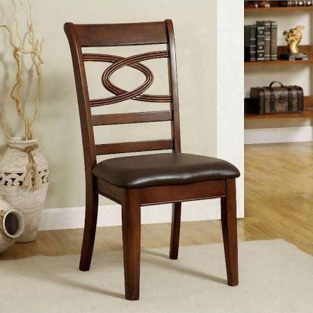 Carlton Collection Cm3149sc-2pk Set Of 2 Side Chair With Leatherette Seat And Uniquely Designed Back In Brown