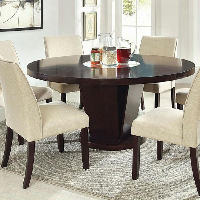 "Cimma Collection Cm3556t-table 60"" Round Dining Table With Sturdy Pedestal Base And Round Table Top With Mirror In"
