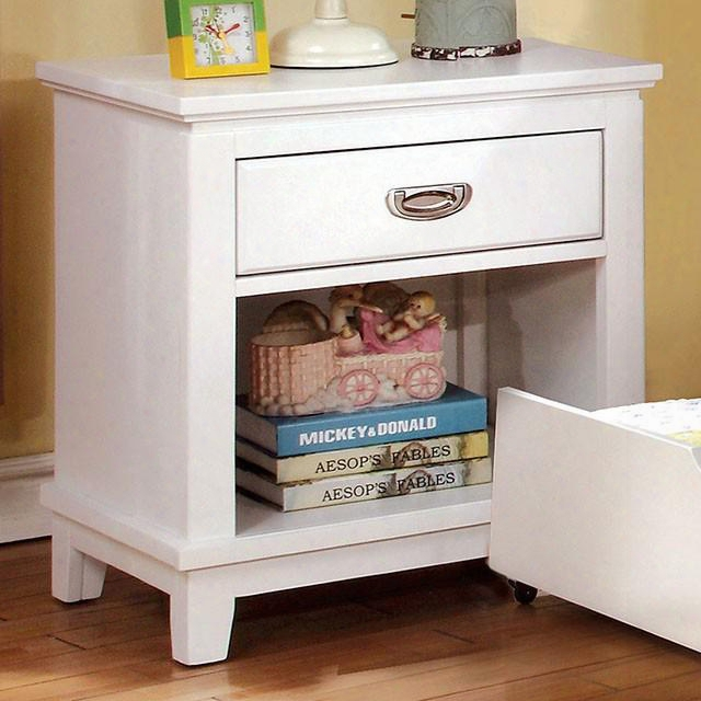 "Colin Assemblage Cm7909wh-n 22"" Nightstand With 1 Center Metal Glide Drawer Bottom Shelf Solid Wood A Dwood Veneers Construction In White"