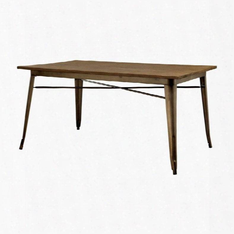 """Cooper I Collection Cm3529t 60"""" Rectangular Dining Table With Metal Legs And Wooden Table Top In Natural Wood Grain Surface With Natural Elm"""