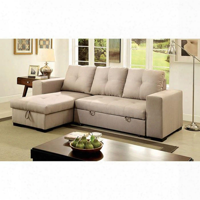 "Denton Collection Cm6149iv-set 97"" 2-piece Fabric Sectional With Reversible Chaise Pullout Sleeper And Underseat Storage In"
