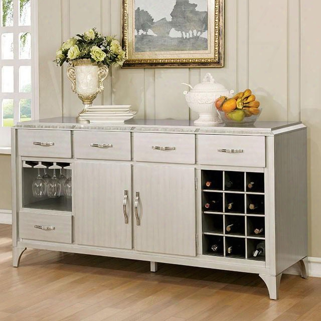 """Diocles Collection Cm3020sv 66"""" Server With Antique Mirror Inserts Wine And Glassware Rack 4 Drawers And 2 Doors In"""