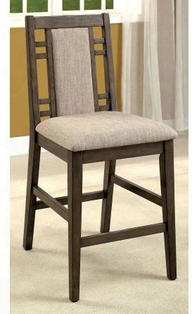 """Eris Ii Collection Cm3213pc-2pk Set Of (2) 25"""" Modern Style Counter Height Chair With Bold Legs And Tapering Frame Padded Fabric Upholstery In Weathered"""